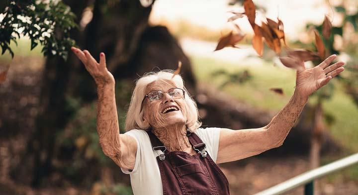 Elderly enjoying nature
