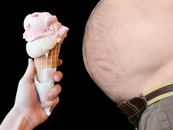 Ice cream and an obese man