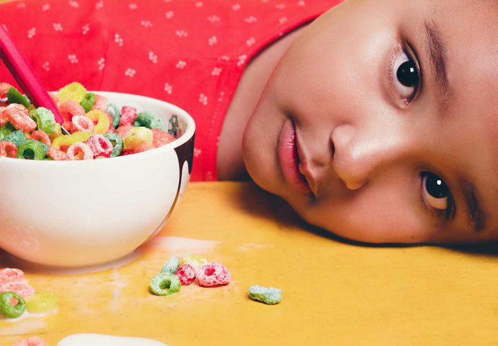 A child with a bowl of extruded breakfast cereals - Photo by Tiago Pereira from Pexels