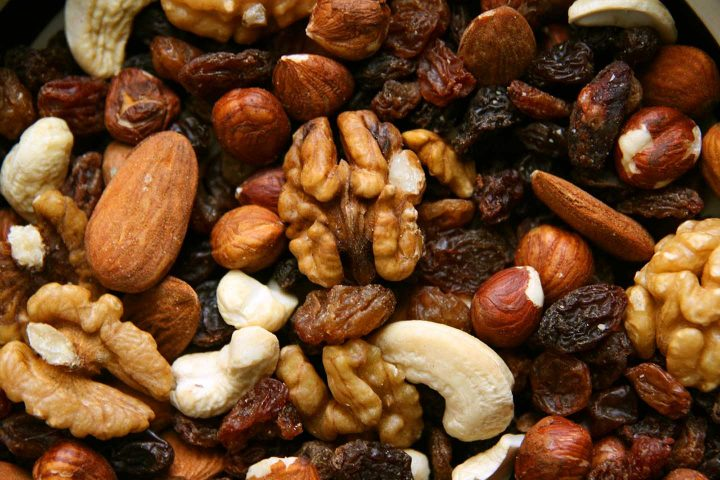 Student fodder with raisins and various kinds of nuts.
